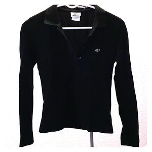 Lacoste classic black long sleeve button-up polo